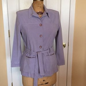 Pale lilac belted safari jacket.